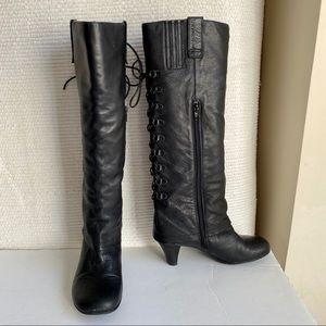 VTG 90s 8½ Lace Back Leather Knee High Boots Black